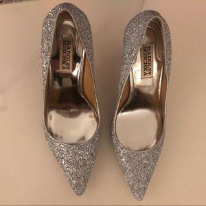 Badgley Mischka Silver Sequined Heels Size 6.5